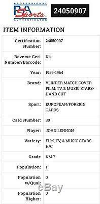 1959-64 Vlinder John Lennon Rc Rare (pop 1) Psa 7 Highest Grade Near Impossible