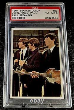 1964 Beatles Color PSA 8 #60 John Lennon Ringo Paul McCartney Card Topps Music