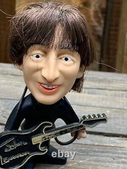 1964 Beatles Doll Figure John Lennon Remco Seltaeb Hard Body with Instrument