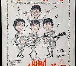 1964 THE BEATLES original US film poster for A Hard Day's Night John Lennon