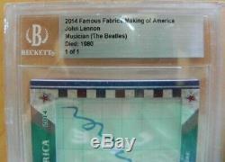 2014 Famous Fabrics Making Of America John Lennon Beatles Fame Cut Signture 1/1