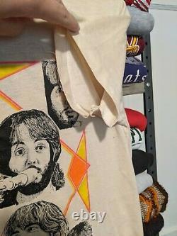 70s VINTAGE The Beatles Double Sided Band Tour Art John Lennon McCartney size M