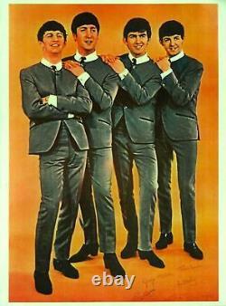 BEATLES 1964 ORIGINAL PROMO POSTER / JOHN LENNON / PAUL McCARTNEY / RINGO / EX