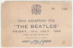 Beatles 1964 Civic Reception Ticket John Lennon Paul McCartney promo invite