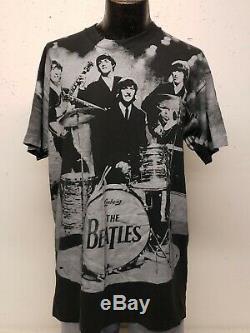 Beatles Apple BLACK T Shirt All Over Print SINGLE STITCH VTG 90s Mens XL