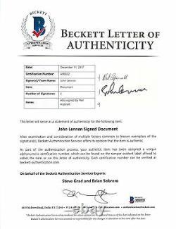 Beatles John Lennon & Neil Aspinall Signed 1968 Publishing Contract BAS #A86832