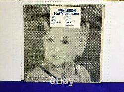 Beatles John Lennon PLASTIC ONO BAND 1970 Apple Shrink BLUE TITLES HYPE STICKER