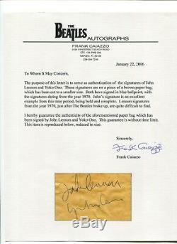 Beatles John Lennon Yoko Ono Rare 1970 Signed Autograph Frank Caiazzo LOA