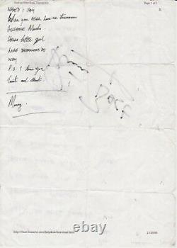 Beatles Pete Best SIGNED SET LIST Promo John Lennon Paul McCartney Ringo Starr