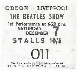 Beatles original concert ticket, Liverpool UK 1963 John Lennon, Paul McCartney