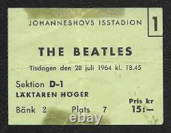 Beatles original concert ticket, Stockholm 1964, Sweden Tour, John Lennon