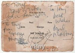 Beatles signed autograph John Lennon Paul McCartney George Harrison Pete Best