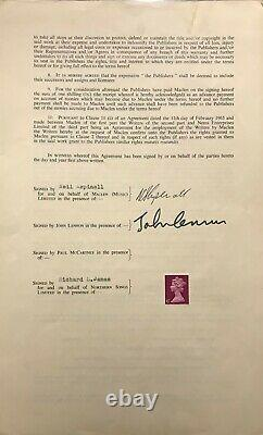 Contracts Signing Away Ownership of Beatles Songs Signed by John Lennon, 1968