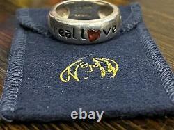 JOHN LENNON BEATLES Sterling Silver 925 REAL LOVE BAND RING SIZE 7 Box Garnet