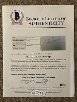 JOHN LENNON BEATLES Vintage Signed Album Page 1963 BAS BECKETT LOA A74804