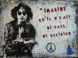 Jean VIRTUEL (1954) HsT 2015 / STREET ART John LENNON Imagine The Beatles Paris