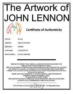John Lennon Artwork Beatles Lyric Serigraph Julia (SOLD OUT EDITION)