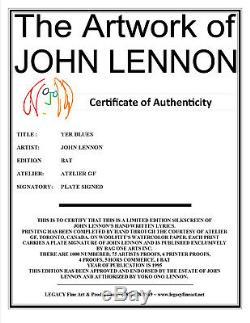 John Lennon Artwork Beatles Lyric Serigraph Yer Blues (SOLD OUT EDITION)