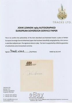 John Lennon Authentic Autograph Signed 1969 Tracks Certificate