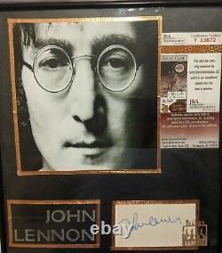 John Lennon Autograph with Photo THE BEATLES JSA Authenticated Autograph