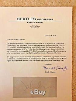 John Lennon Autographed Bag One Erotic Lithograph Cut Beatles