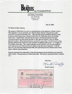 John Lennon Beatles Signed 1969 4x8 Lennon Productions Ltd Check BAS Slabbed