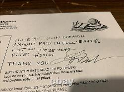 John Lennon Hair Authentic From the Louis Mushro Collection With Signed Receipt