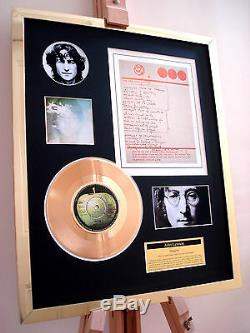 John Lennon Imagine 7 Gold Record Disc & Hand Written Lyrics Display