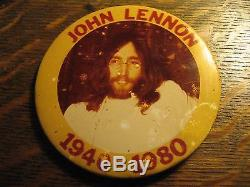 John Lennon Memorial Pin Vintage 1980 Beatles Rock Legend Death Lapel Button