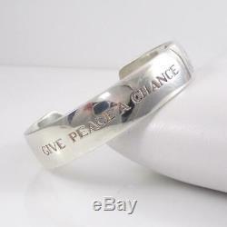 John Lennon RARE Sterling Silver Beatles 2007 Give Peace Cuff Bracelet LHB4