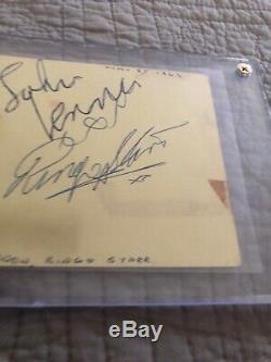 John Lennon Ringo Starr Beatles Autograph Epperson COA See Pictures
