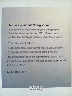 John Lennon Signed Original Lithograph Bag One 16/300 Frontispiece
