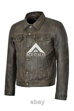 John Lennon The Beatles Rubber Soul Mens Trucker Dirty Brown Real Leather Jacket