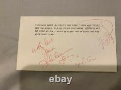 John Lennon Yoko Ono Beatles Signed 3x5 post card 1970 calendar vintage rare