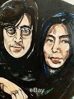 John Lennon & Yoko Ono Original Large painting on canvas, Signed The Beatles Art