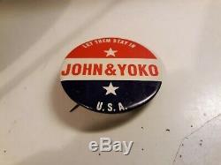 John Lennon Yoko Ono RARE Button Let Them Stay In the USA Put Out by John Lennon