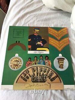 John lennon Autograph Signed Onto Piece Of Sgt Pepper Pullout Insert The Beatles