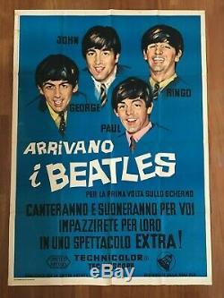 L POSTER, MANIFESTO, 2F, ARRIVANO I BEATLES John Lennon, McCartney, Ringo, Harrison