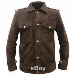 New Beatles John Lennon Rubber Soul Men Brown Suede Leather Jacket Old Vintage