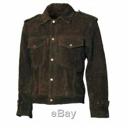 New Man's Beatles John Lennon Brown Suede Leather Vintage Leather Biker Jacket