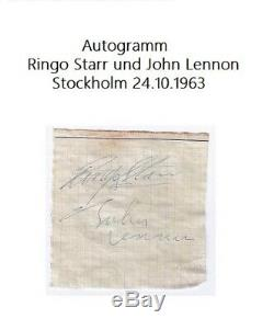 Orginal Autogramm The Beatles John Lennon Und Ringo Starr / Stockholm 1963