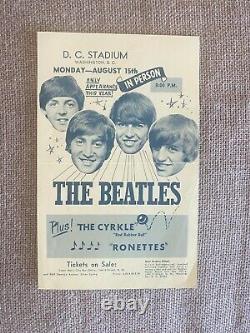 Original John Lennon The Beatles 1966 DC Stadium Washington Concert Handbill