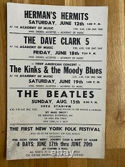 Original The Beatles John Lennon 1965 Shea Stadium Boxing Style Concert Poster