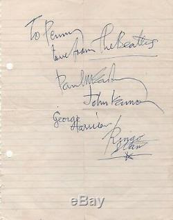 Paul McCartney signed Beatles autograph John Lennon George Harrison Ringo Starr