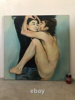 RARE Antique Vintage John Lennon Yoko Ono Beatles Oil Painting