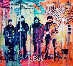 RARE ORIGINAL MARTA ZAWADZKA The Beatles With Umbrellas john lennon PAINTING
