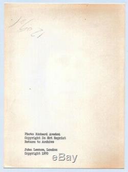 RICHARD AVEDON 1967 Beatle JOHN LENNON 1970 PROOF Silver Gelatin PHOTOGRAPH