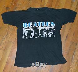 RaRe 1970s THE BEATLES vtg rock concert shirt (M/L) John Lennon Paul McCartney