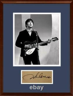 Rare John Lennon Signed Autograph Display, Beatles. Caiazzo LOA & PSA
