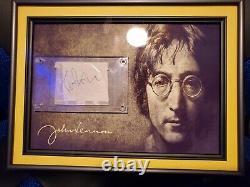 Rare John Lennon Signed Autograph Display, Beatles JSA Authenticated
